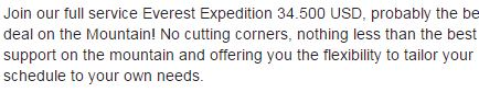 wervende tekst op Facebook voor Mount Everest expeditie